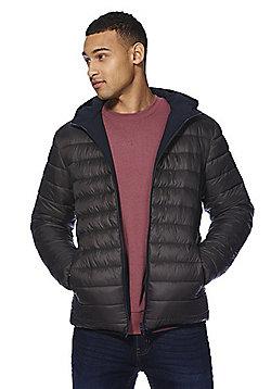 F&F Shower Resistant Hooded Reversible Jacket - Grey & Navy