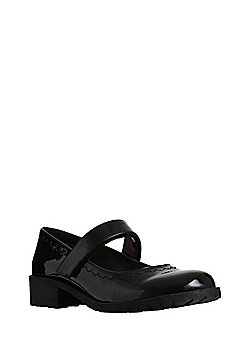 F&F Scuff Resistant Patent Mary Jane Shoes - Black