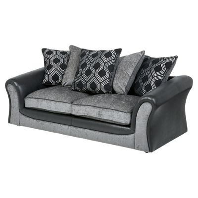 Arabella Large 3 Seater Sofa, Geometric Dark Grey