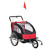 Homcom 2 in 1 Collapsible 2-Seater Kids Stroller and Bike Trailer (Black & Red)