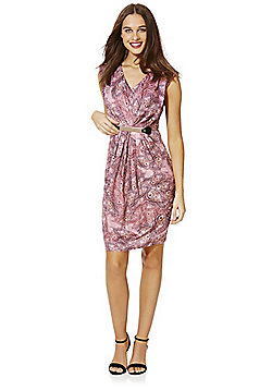 Mela London Peacock Feather Print Jersey Dress - Pink