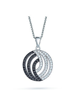 The REAL Effect Rhodium Coated Sterling Silver Black & White Cubic Zirconia Charm Pendant
