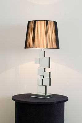 Mirrored Squares Table Lamp With Black Shade.