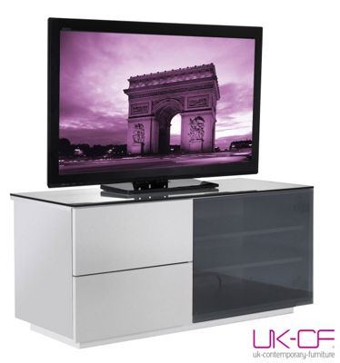 UK-CF High Gloss White TV Cabinet with Black Glass for up to 50 inch