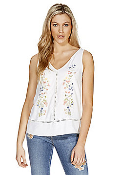 F&F Lace Trim Embroidered Vest - Ivory