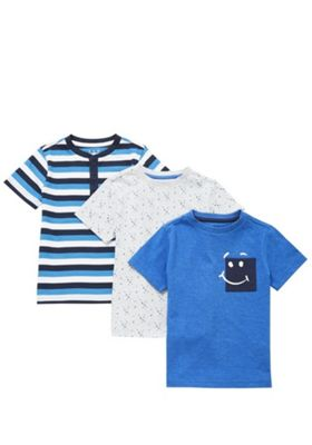 F&F 3 Pack of Patterned Short Sleeve T-Shirts Multi 3-4 years