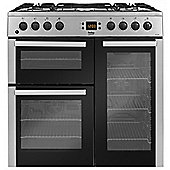 Beko BDVF90X Stainless Steel 90cm Dual Fuel Range Cooker | 3 Door