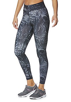 F&F Active Tropical Print Leggings - Grey