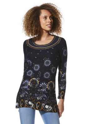 Solo Embroidered Neck Paisley Tunic Navy 12