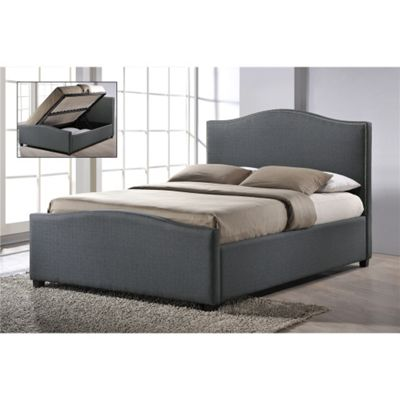 Chrome Studded Grey Fabric Finished Side Ottoman Style Bed Frame - King Size 5ft