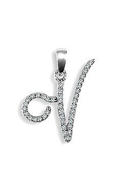 9ct White Gold Diamond Script Initial Identity Pendant - Letter V