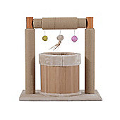 PawHut Cat Tree Kitten Pet Scratching Post Play Activity Centre with Toys Beige 63cm