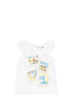 Minoti Holiday Pictures Frill Trim Vest - White