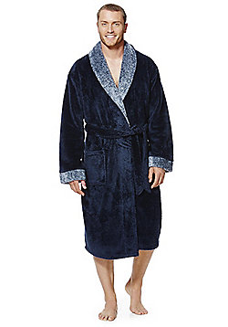 F&F Contrast Lapel Fleecy Dressing Gown - Navy
