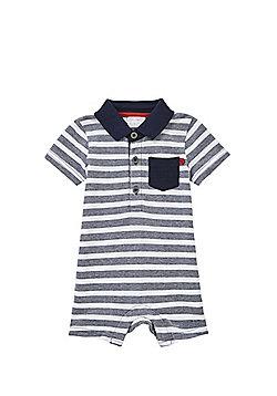 F&F Striped Polo Shirt Romper - Navy & White