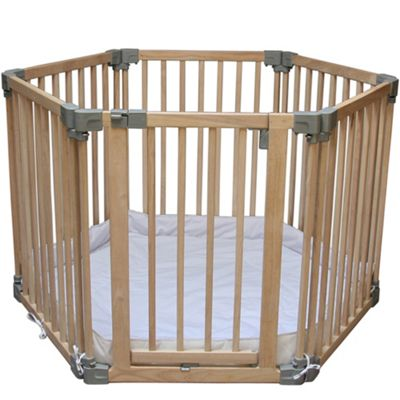 Clippasafe Multifunction Natural Wood Play Pen With Base Mat