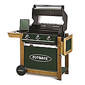 Outback - Ranger Green 3 Burner Gas BBQ with Side Burner