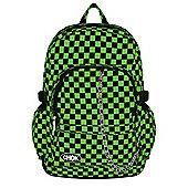 Chok Black & Lime Green Checker Canvas Backpack 29x42x13cm