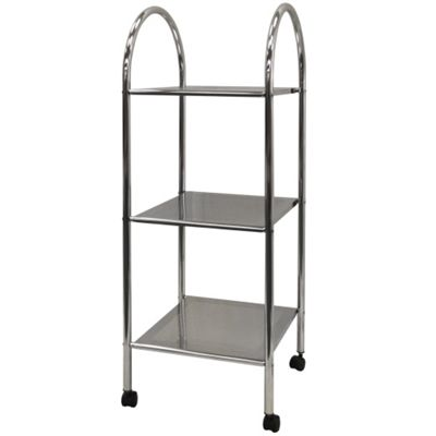 Athena - 3 Tier Metal Bathroom Storage Shelves With Castors - Silver