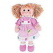 Bigjigs Toys Ava 34cm Soft Doll in Pink Checked Pinny - Rag Dolls for Children