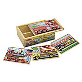 Melissa Doug 4 Wooden Vehicle Jigsaw Puzzles In A Box Age 3