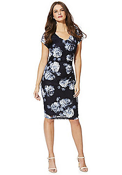 Roman Originals Printed Lace Pencil Dress - Navy