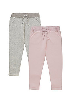 F&F 2 Pack of Plain and Sequin Tape Joggers - Multi