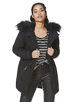 Vero Moda Faux Fur Trim Hooded Parka - Black