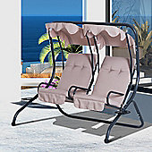Outsunny Garden Swing Chair 2 Seater Patio Cushioned Seat with Tray - Beige