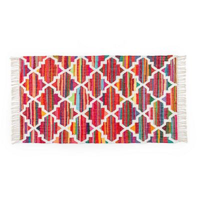 Homescapes Amsterdam Handwoven Multi Coloured 100% Cotton Chindi Kilim Rug, 66 x 200 cm
