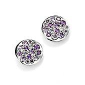 Purple CZ Silver Disc Earrings