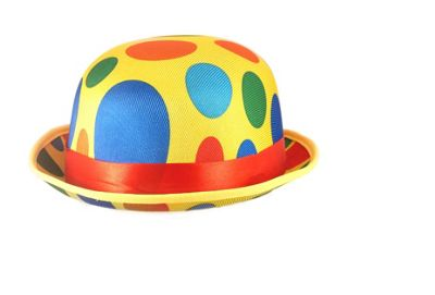 Adults Novelty Polka Dot Clown Bowler Hat Fancy Dress Accessory