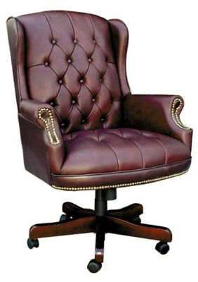 Modal Chairman Traditional Executive Swivel Chair - Burgundy
