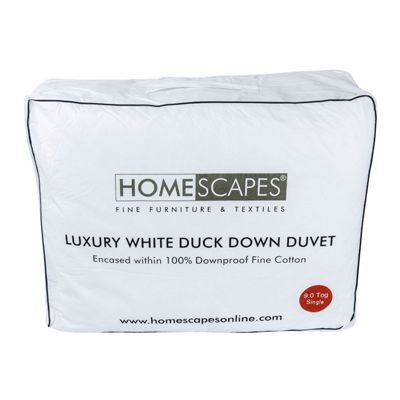 Luxury White Duck Down 9 Tog Single Size Duvet