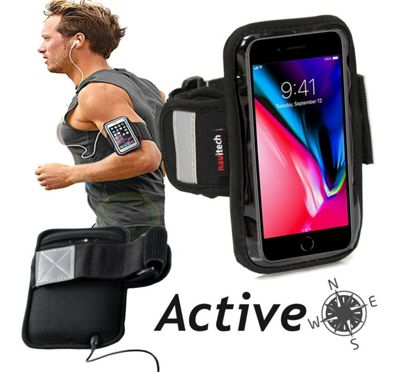 Navitech Black Running / Jogging / Cycling Water Resistant Sports Armband For TheiPhone 8