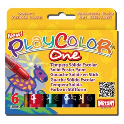 Playcolor Basic One 10g Solid Poster Paint Stick (Pack of 6 - Assorted Colours)