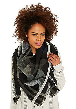 Pieces Drum Aztec Square Blanket Scarf - Black