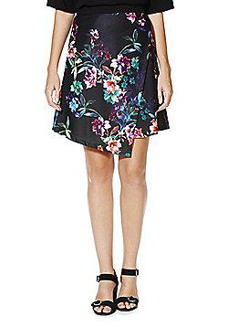 Cutie Floral Print Wrap Front A-Line Skirt - Black