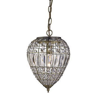 PENDANT 1 LIGHT ANTIQUE BRASS, CLEAR GLASS BUTTONS/COFFIN DROP TRIM
