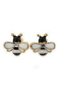 Children's/ Teen's / Kid's Tiny Black/ White Enamel 'Bee' Stud Earrings In Gold Plating - 10mm Diameter