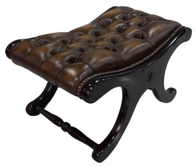 Chesterfield Saddle Footstool Antique Brown Leather