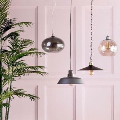 Litecraft Louis 1 Bulb Industrial Ceiling Pendant, Wood and Grey Metal