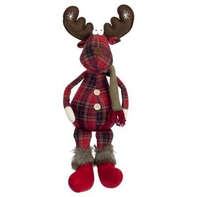 50cm Shelf-sitting Plush Tartan Reindeer Christmas Ornament
