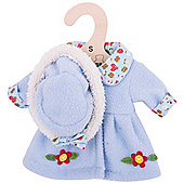 Bigjigs Toys Blue, Flowery Rag Doll Coat and Hat for 28cm Doll - Suitable for 2+ Years