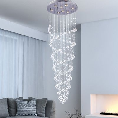 Homcom modern crystal ceiling lamp 8 light spiral droplet chandelier pendant