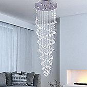 Homcom Modern Crystal Ceiling Lamp 8 Light Spiral Droplet Chandelier Pendant