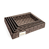 EHC Set Of 5 Woven Strapping Storage Basket - Dark Brown