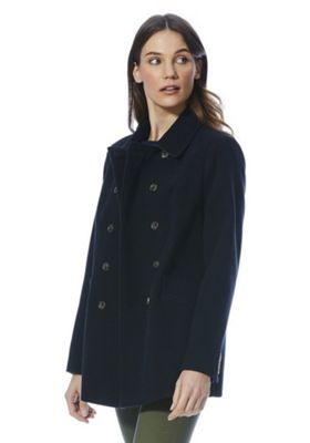 F&F Double Breasted Pea Coat Navy 14
