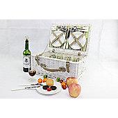 Woodluv Vintage Antique Picnic Hamper Basket For 4 Persons White