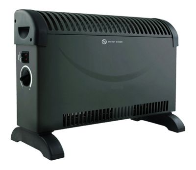 Black Convector Heater Adjustable Thermostat with 3 Heat Settings